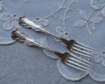 Antique sterling silver dinner fork set of 2 ornate fancy bride and groom set wedding gift set Canadian silverware