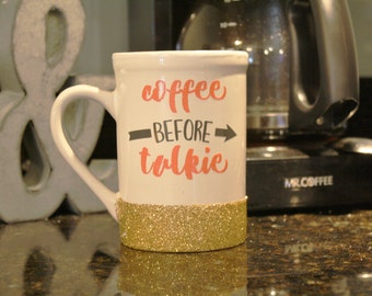 coffee mug, cute coffee mug, funny coffee mug, cute quote mug, glitter dipped mug, glitter coffee mug, mugs with sayings, quote coffee mug