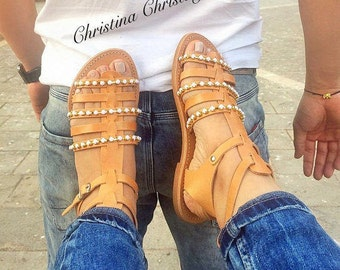 Ancient Greek Sandals, Gladiator Sandals, Summer Shoes, Made in Greece by 100% Genuine Leather by Christina Christi Jewels.