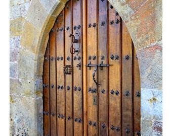 oak doors, detailed iron work, masculine wall art, travel photography, Spain, fine art photograph, front foyer wall art, fine art print