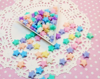 100pc Pastel Star Assorted Color 10mm Kawaii Beads Acrylic Plastic Bead Mix Jewelry Craft DIY
