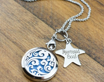 Mermaid Soul Essential Oil Diffuser Necklace - Stainless Steel Aromatherapy Necklace - Ocean Waves Diffuser Necklace - Aromatherapy Jewelry
