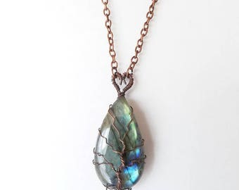 Labradorite Heart & Tree of Life Oxidized Copper Necklace on Oxidized Copper Chain with Lobster Clasps