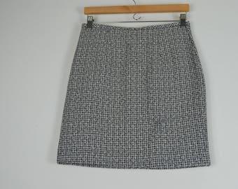 90s Black & White Tweed Mini Skirt- Jacket and Skirt Set