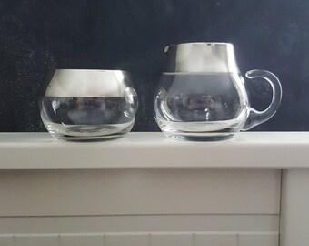 Vintage midcentury glass sugar and creamer set, glass and silver sugar creamer