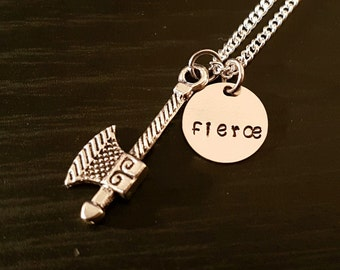 Fierce Stamped Warrior Axe on Sterling Silver Necklace