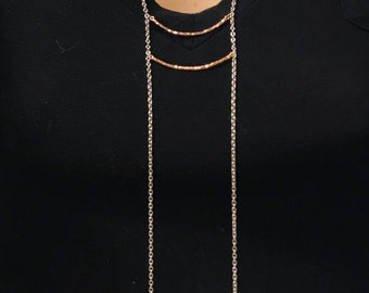 Rose gold bar ladder necklace with silver chain