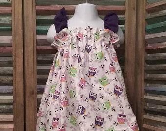 Girls dress, Little girls dress, Girls owl sundress, Toddler girls sundress, Beach dress, Summer dress, size 18 months 2T, #192, #208