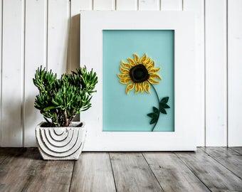 Quilled Sunflower Wall Art - 3D Sunflower - wall decor - birthday gift - home decor - quilled artwork - paper quilling art - Housewarming