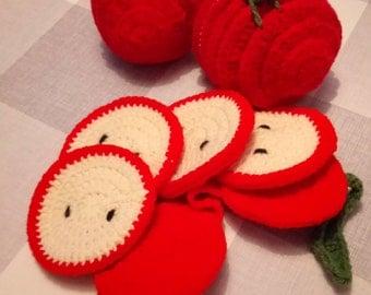 Crochet Apple Coasters Pattern