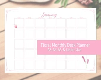 Floral Monthly Desk or Wall Planner/Calendar - A3, A4, A5 & Letter size
