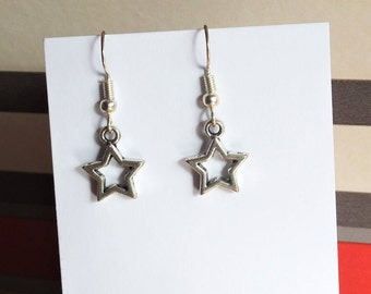 Hollow star earrings, sterling silver starry space earrings, handcrafted cosmic earrings with choice of earring finding