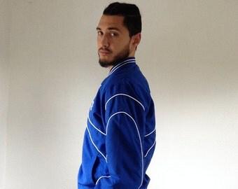Vintage Air Force Jacket, 80s Air Force Track Jacket, 90s Air Force Jacket, Blue Air Force Jacket, Striped Air Force Jacket | Mens Vintage