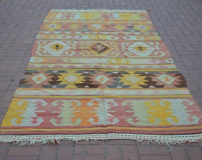 "Anatolian Turkish Rug, 62.8"" x 148"" / 157 x 370 cm, Vintage Turkish Rug, Turkish Kilim Rug, Pastel Turkish Kilim, Tapis Boho"