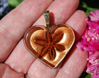 Heart Pendant/Star anise Heart Pendant,  Crystal Clear Resin cast/FREE SHIPPING