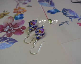 Silver earring Dangle earrings 925 sterling earrings for women Wedding gift Cute art beads earrings single bead dainty earrings Anniversary