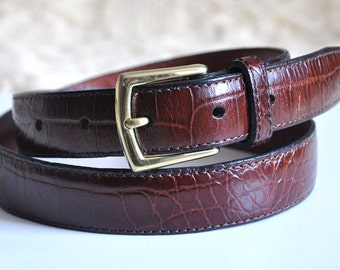 Vintage leather belt, brown leather belt with a gold brass belt buckle, high waist belt, 80s / 90s belt, Made in USA