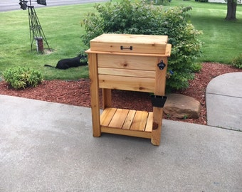 Rustic Outdoor Cedar Cooler Chest