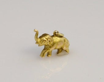 14K Yellow Gold Solid 3D Figural Elephant Charm/Pendant
