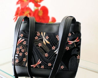 Dragonfly Shoulder Bag Purse - Vegan Leather and Fabric - Black - Grey  - Pink - Gold -  SHIPPING TIME 1 - 2 WEEKS