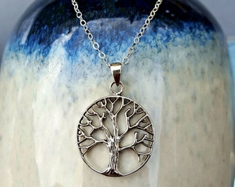 Tree of Life Necklace, Sterling Silver Tree of Life Necklace, Family Tree Necklace, Tree of Life Jewelry, Tree of Life Charm Necklace