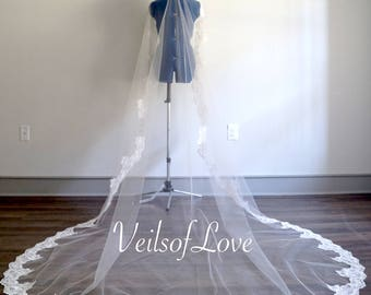 CATHEDRAL LACE wedding Veil // appliqué edge, Ivory, white colors, floor veils, chapel, royal, traditional classical veil white, floating