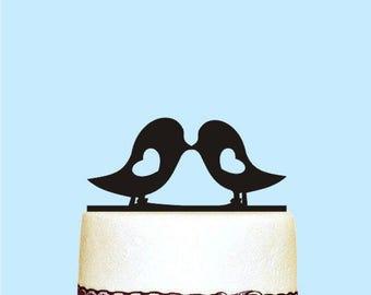Love Birds Cake Topper, Romantic Cake Topper, Love Birds Heart Wedding Cake Toppers, Modern Wedding Cake Topper, Wedding Decorations