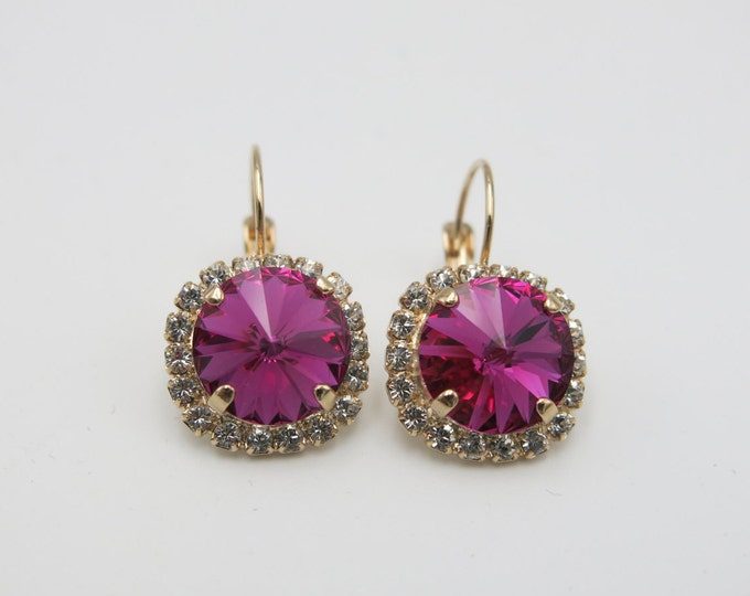 Effortlessly chic sparkly fuchsia pink 12mm Swarovski crystal dangle drop earrings embellished with elegant halos of sparkling pave stones