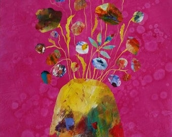 Chipped Vase with Flowers - original mixed media painting