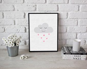Cloud - nursery print - cloud prints - cloud print - baby girl print - prints - baby prints - clouds - sleepy cloud - hearts - pink print