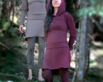 UNDERCOVER FAIRY TUNIC - 95% cotton, stretchy fabric, pixie hoodie, long sleeves, tribal clothing, eco chic, trance fashion , 4 seasons !