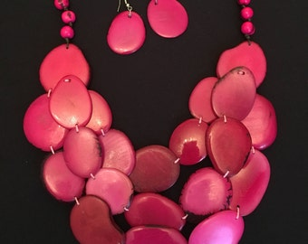 50% Off / Pink Tagua Nut Statement Necklace / Pink Tagua Nut Jewelry / Organic Jewelry