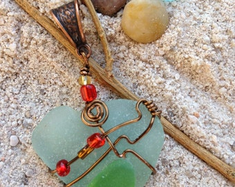 Wired Wrapped Turquoise Beach Glass pendant