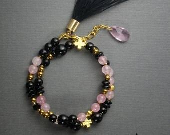 Rose Quartz bracelet, womens bracelet, onyx hematite bracelet, gift for her, beaded bracelet, gemstone bracelet, tassel bracelet
