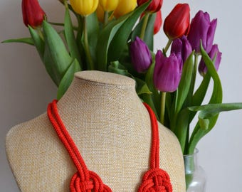 Red rope necklace- Christmas necklace- Knot Necklace- Nautical necklace- Chunky necklace- Valentines day gift- Bridesmaid necklace