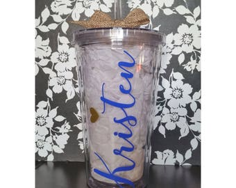 Personalized 16 oz Tumblers Customized With Your Name and Favorite Colors! Heart Design Monogram