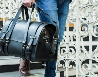 Men's Leather Duffle Bag, Cabin Luggage, Carry Lite Holdall, Finest Weekend Bag, Carry on Baggage, Vegetable Tanned, Full Grain Leather