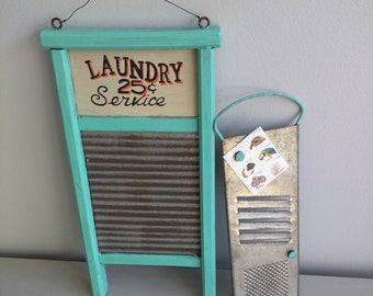 Washboard and Grater Set Antiques for Kitchen Laundry Room Vintage Washboard Rustic French Country Upcycled Slicer Kitchen Cart Grater teal