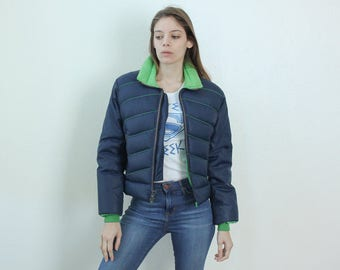 Vintage Ski Jacket // 70s Puffy Jacket Striped Blue Green Goose Down Puffer Winter Coat Womens - Small