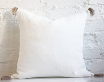 pillow with tassels. linen pillow with tassels / decorative tassel cover cushion stonewashed l