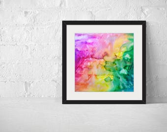 Rainbow Abstract Fine Art Print, Giclee Print Wall Art, Abstract Print, Watercolor Painting Print, Watercolor Art