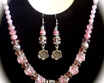 Frosted Pink Indonesian Glass Flower Necklace Set
