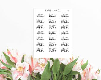 study session school student college text lettering stickers for bullet journals and planners - T049