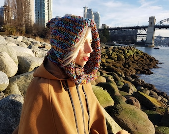 Hand Knit Hooded Cowl, Multi Coloured, Button-up, Oversized Hood