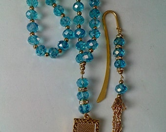 Gift Set - blue sparkle tasbeeh with gold plated Allah pendant plus matching bookmark. tasbih, Quran, muslim, hajj, eid ramadan, nikah 2