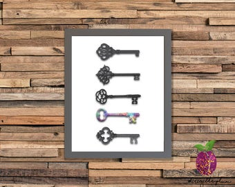 Antique Keys ~ Watercolor ~ Printable Wall Art ~ Instant Download ~ 5x7 ~ 8x10