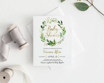 Baby Shower Invitation | Greenery Invitation | Printed Invitation | Watercolour Leaves | Wreath | Greenery Baby Shower Invitation | Leaves