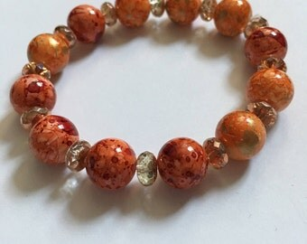 Orange Ceramic Beaded Bracelet