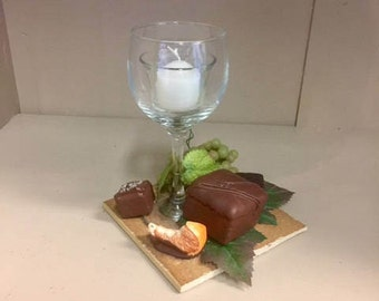 Wine Glass Votive with Fruit and Chocolate