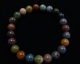 Indian Agate semi precious stone stretch bracelet birthday
